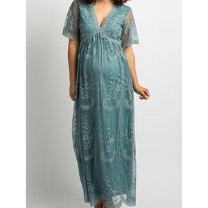 PINKBLUSH Sage Lace Maternity Maxi Dress